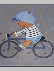 billige -håndmalet dreng af cykel tegneserie olie malerier på lærred væg kunst billede med strakt ramme klar til at hænge