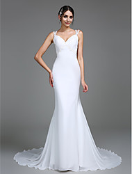 cheap -Mermaid / Trumpet Sweetheart Court Train Chiffon Wedding Dress with Appliques by LAN TING BRIDE®