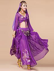 Belly Dance Outfits Women's Performance Chiffon Sequin 3 Pieces Top/Skirt/Belt  Fuchsia / Light Blue / Purple / Blue