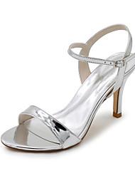 baratos -Mulheres Sapatos Couro Envernizado Primavera Verão Sandálias Salto Agulha para Casamento Festas & Noite Preto Prata Azul Dourado