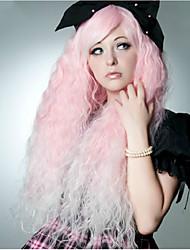 Donna Parrucche sintetiche Molto lungo Onda effetto mare Rosa Parrucca Cosplay Parrucca di Halloween Parrucca di carnevale costumi