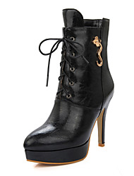 cheap -Women's Shoes Winter Platform / Fashion Boots / Pointed Toe Boots Dress Stiletto Heel Lace-up