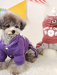 preiswerte -Hund Mäntel Kapuzenshirts Hundekleidung Lässig/Alltäglich Solide Buchstabe & Nummer Purpur Rot Blau Kostüm Für Haustiere