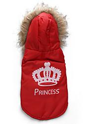Dog Coat / Hoodie Red / Orange Dog Clothes Winter / Spring/Fall Tiaras & Crowns Fashion / Keep Warm