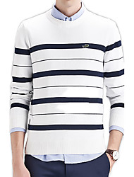Men's Striped Casual / Work / Formal / Sport Pullover,Cotton Long Sleeve Black / Red / White / Gray