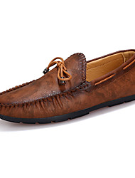 cheap -Men's Shoes Leather Spring Fall Comfort Boat Shoes Walking Shoes For Casual Brown Blue