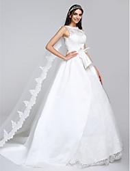 Robe de Soirée Illusion Neckline Traîne Watteau Satin Tulle Robe de mariée avec Appliques Dentelle par LAN TING BRIDE®