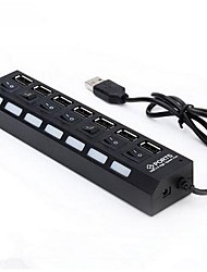 cheap -7 USB Ports Multi Ports USB2.0 Hub Independent Switch and leds