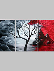 cheap -Hand-Painted Red And Black Cloud Sky Tree Landscape Oil Painting on Canvas  3pcs/set No Frame