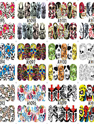 cheap -12 Designs Nail Art Halloween Skull Ghost Flower Colorful Interesting Image Nail Beauty A1093-1104