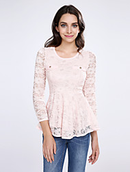 Women's Lace Lace Pink/White/Black Blouse,U Neck Long Sleeve with Peplum