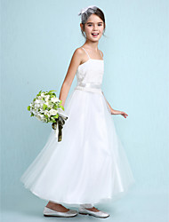 cheap -A-Line Ankle Length Flower Girl Dress - Tulle Sleeveless Spaghetti Straps with Lace by LAN TING BRIDE®