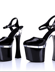 18CM stage Club super high heels/ Summer Sandals Patent Leather/ Wedding/Party & Evening Chunky Heel/Dancing shoes
