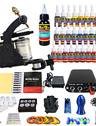cheap -Starter Tattoo Kit 1 alloy machine liner & shader Tattoo Machine Mini power supply 28 × 5ml Tattoo Ink 1 x aluminum grip