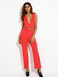 cheap -Women's Going out Jumpsuit - Solid Colored V Neck