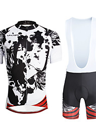 cheap -ILPALADINO Men's Short Sleeve Cycling Jersey with Bib Shorts Skull Bike Clothing Suit, 3D Pad, Quick Dry, Ultraviolet Resistant, Breathable, Reflective Strips Lycra Skull / Stretchy