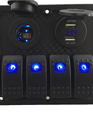 cheap -12V-24V DC 4 gang Waterproof marine blue led switch panel with led power socket and 4.2A USB voltmeter