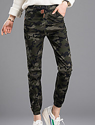 Women's Camouflage Green Chinos Pants,Simple