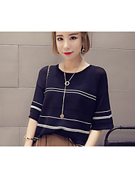 cheap -Women's Daily Casual Striped Round Neck Pullover, Short Sleeves Summer Cotton