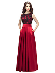 Sheath / Column Bateau Neck Floor Length Lace Charmeuse Prom Formal Evening Dress with Lace Pockets by Lovingtime