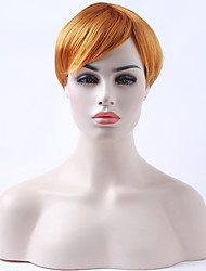 cheap -Capless Orange Wig Short Straight Synthetic Hair Wig for White Woman Daily Life