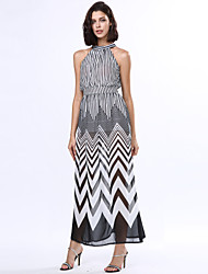 cheap -Women's A Line / Swing Dress - Striped Criss-Cross High Rise Maxi Stand