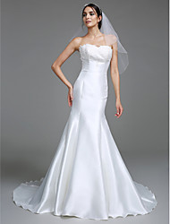 Mermaid / Trumpet Sweetheart Court Train Satin Wedding Dress with Appliques by LAN TING BRIDE®