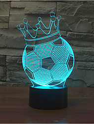 Football Crown Touch Dimming 3D LED Night Light 7Colorful Decoration Atmosphere Lamp Novelty Lighting Christmas Light