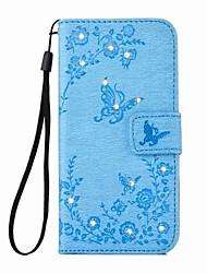 eforcase® motýl květina reliéfní diamant PU kožené pouzdro pro iPhone 7 7 navíc 6s 6 plus SE 5s 5