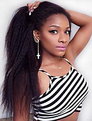 Недорогие -Парики из искусственных волос Естественные прямые Средняя часть Для темнокожих женщин / Парик в афро-американском стиле Черный Жен. Лента