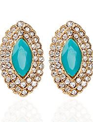 Forme Ovale Bijoux Femme Mode Mariage Soirée Alliage 1 paire Vert foncé Noir Bleu Brun