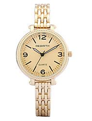 baratos -REBIRTH Mulheres Bracele Relógio / Relógio de Pulso Venda imperdível / / Lega Banda Casual / Fashion / Elegante Prata / Dourada / Dois anos / Mitsubishi LR626
