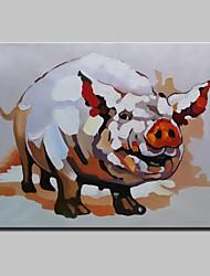 Недорогие -ручная роспись современный абстрактный животное свинья картина маслом на холсте стены искусства с натянутой рамы готовы повесить