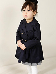 Girl's Casual/Daily Solid Suit & Blazer / Trench Coat,Cotton Spring / Fall Blue
