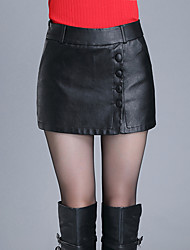 economico -Pantaloni Da donna Pantaloncini Sensuale / Semplice / Romantico PU (Poliuretano) Media elasticità