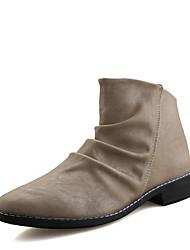 cheap -Men's Boots Comfort PU Fall Winter Casual Lace-up Flat Heel White Black Beige Flat