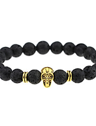 cheap -Vintage Fashion Accessories Lava Stone Black Agate Beads Skull Charm Bracelets Men Women Jewelry
