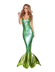 cheap -Girls Female Mermaid Tail Dress Cosplay Costumes Party Mermaid Tail Fairytale Festival/Holiday Halloween Costumes Green Vintage Leotard/Onesie