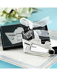 "Chrome ""Bon Voyage"" Silver-Finish Sailboat Travel Tag, Luggage Tag, Place Card Holder Wedding Favors"