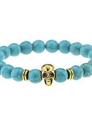 Fashion Vintage Plated Gold / Silver Skull Charm Bracelet Turquoise Beads Bracelets Women Men Jewelry