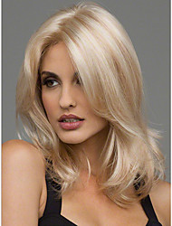cheap -Synthetic Hair Wigs Wavy Middle Part Heat Resistant Natural Wigs Medium Blonde