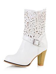 Недорогие -Белый Черный Миндальный-Для женщин-Для праздника-Дерматин-На толстом каблуке-Удобная обувь-Ботинки