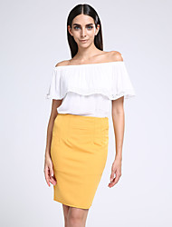 Women's Off The Shoulder/Ruffle Plus Size Solid Black/White/Red Pencil Skirt,Work High Rise Above Knee