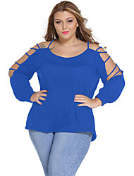 cheap -Women's Off The Shoulder|Cut Out Casual/Daily Sexy Spring / Fall Blouse,Solid Round Neck Long Sleeve Blue / Pink Polyester / Spandex Thin