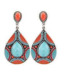 cheap -Vintage Fashion Ethnic Tibetan Silver Oval Resin Turquoise Water Drop Dangle Earrings For Women Brincos Gifts