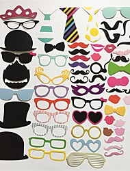 cheap -58Pcs/Set Photo Booth Props Glasses Hat Mustache Lip On A Stick Wedding Birthday Party Funny Decoration Diy Picture