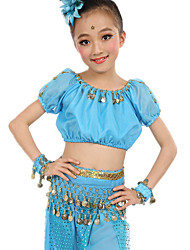 cheap -Belly Dance Outfits Children's Performance Chiffon Coins 6 Pieces Fuchsia / Light Blue / Purple / Royal Blue / Yellow