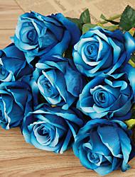 Недорогие -1 1 Филиал Пластик Розы Букеты на стол Искусственные Цветы 20inch/51cm