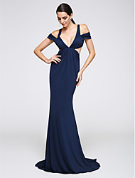 Mermaid / Trumpet V-neck Sweep / Brush Train Jersey Formal Evening Dress with Side Draping by TS Couture®