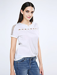 cheap -Women's Daily Casual All Seasons Blouse,Solid V Neck Short Sleeves Polyester Thin